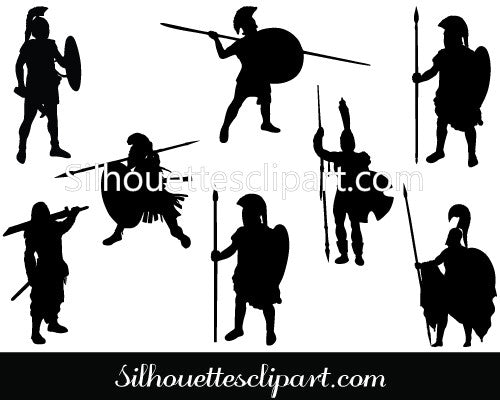 Ancient Warriors Silhouette Vector