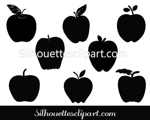 Apple Silhouette Vector Graphics