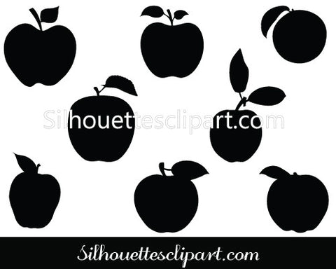 Apple with Leaf Silhouette Vector Graphics
