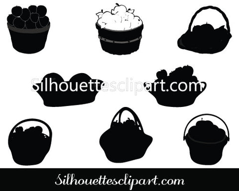 Apples in Basket Silhouette Vector Graphics