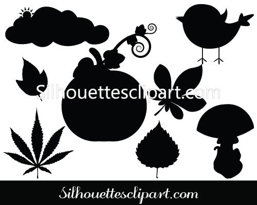 Fall Silhouette Autumn Set Leaves, Mushrooms & Birds Silhouette Vector