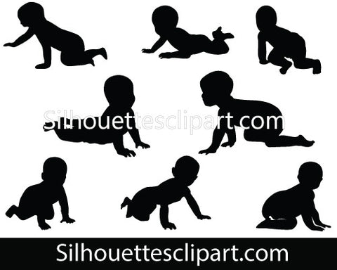 Baby Crawling Silhouettes Vector Babies Crawling Clipart