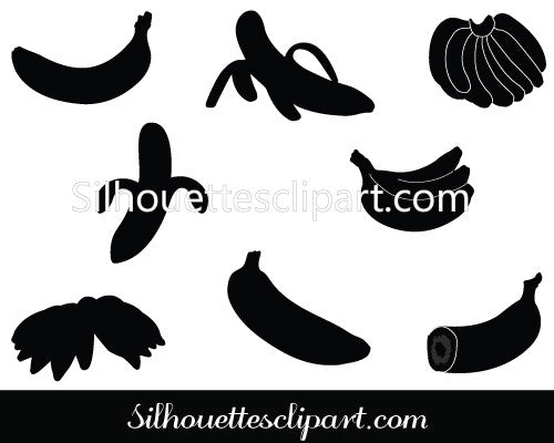 Banana Silhouette Vector Graphics Pack