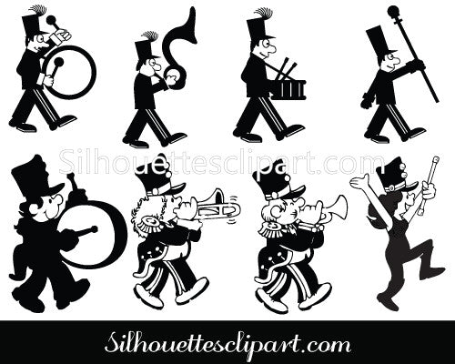 Band People Silhouette Clip Art Pack