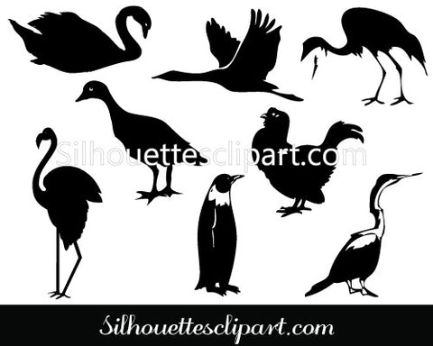 Birds Silhouette Clip Art Pack