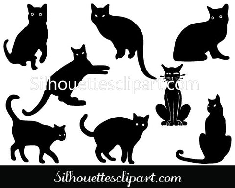 Black Cat Silhouette Graphics
