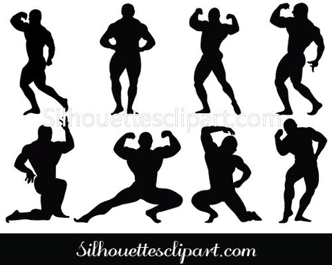 Bodybuilder Silhouette Clip art Pack