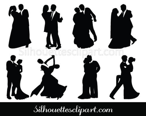 Bride and Groom Silhouette Dancing Couple Vector