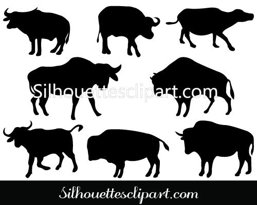 Buffalo Silhouette Clip Art Pack Template