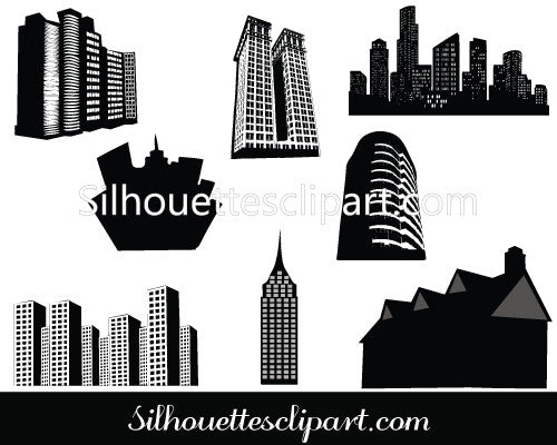 Building silhouette vector graphics