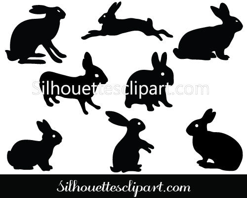 Bunny Silhouette Clip art Pack