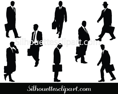 Businessmen With Briefcases Silhouette