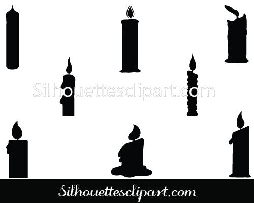 Candle Silhouette Vector Clip Art