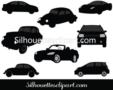 Old and Vintage Car Silhouette Vectors