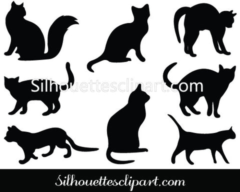 Cats Silhouette Clip Art Pack