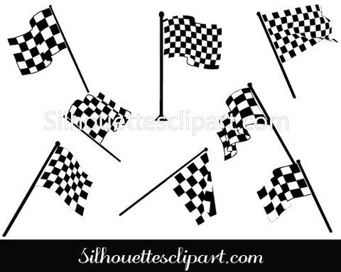 Chequered Racing Flags Vector Silhouette