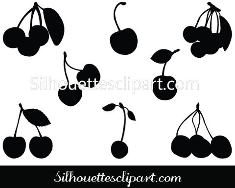 Cherry Silhouette Vector Graphics