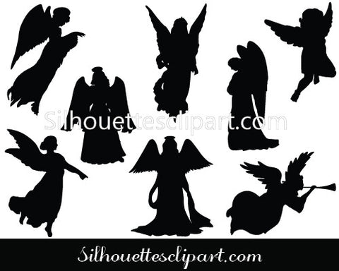 Christmas Angel Silhouette Vector