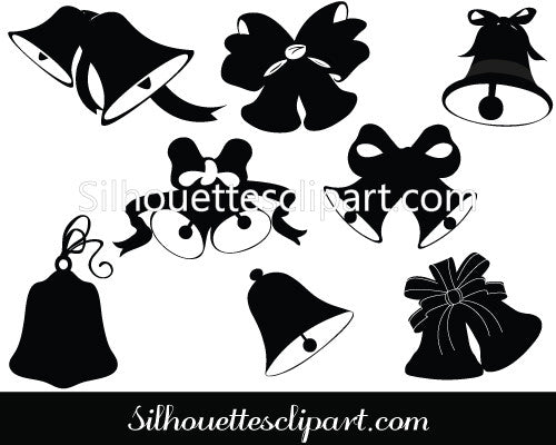 Christmas Bells Silhouette Vector Graphics Pack