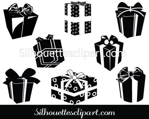 Christmas Gift Box Silhouette Clip Art  Pack