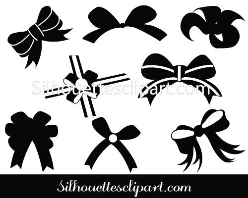 Christmas Ribbon silhouettes Clip Art Pack