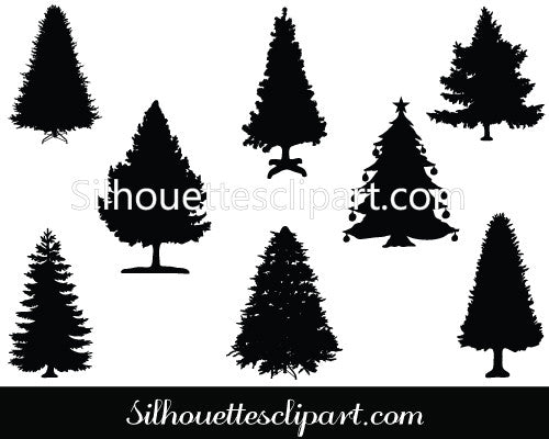 Christmas Tree Silhouette Vector Graphics