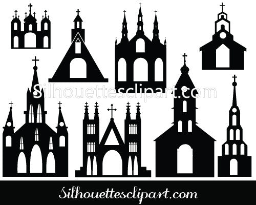 Church Silhouette Vector - High Quality Churches and Cathedrals Vector