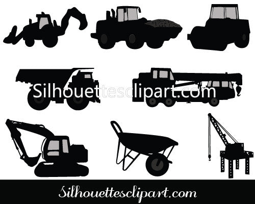 Construction Equipment Silhouette Vector Graphics