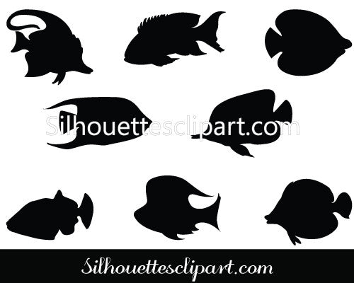 Coral Fish Silhouette Vector Graphic Clip art pack