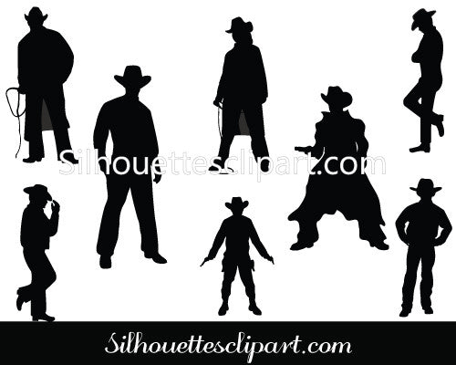 Wild West Cowboy Silhouette Vector Graphics