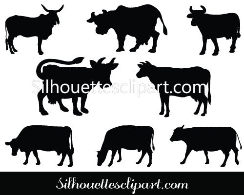 Cow Silhouette Vector Graphics