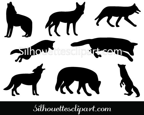 Coyote Silhouette Clip Art Pack Template