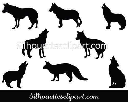 Coyote silhouette clip art Pack