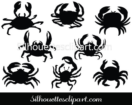 Crab Silhouette Vector Clipart