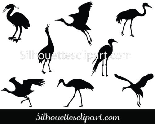 Crane Silhouette Vector Graphics