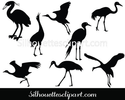 Crane Silhouette Vector Graphics Pack