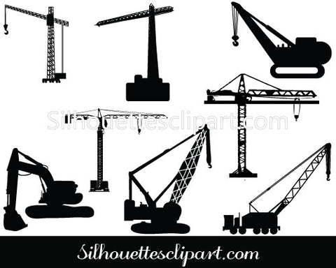Cranes and Scaffolding Vector Silhouette Graphics