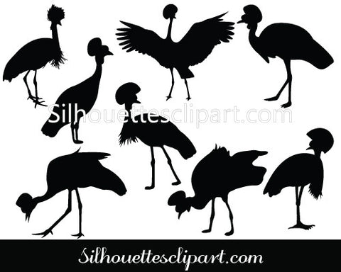 Crowned Crane Silhouette Vector Graphics