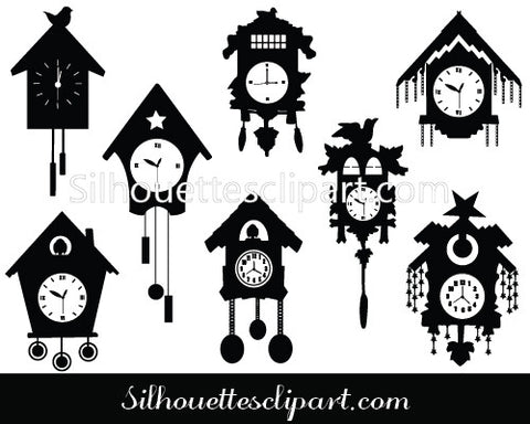Cuckoo Clocks Vector Graphics