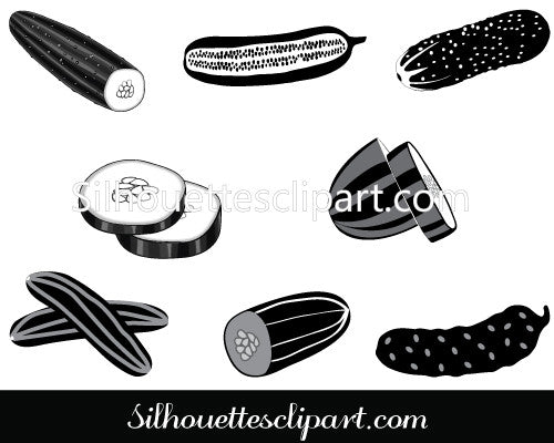 Cucumber Silhouette Vector Graphics Pack