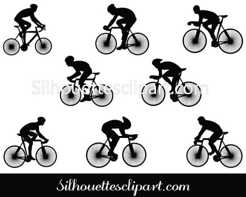 Cycling Silhouette Clip Art Pack