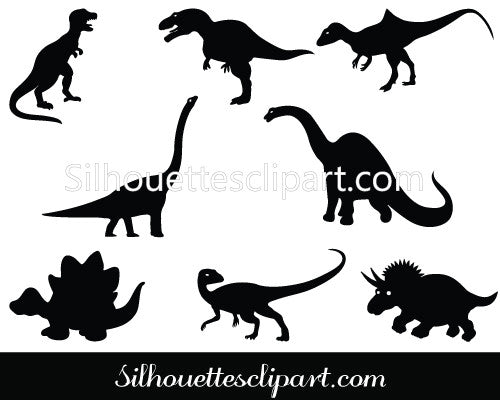 Dinosaur Silhouette Vector Graphics Pack