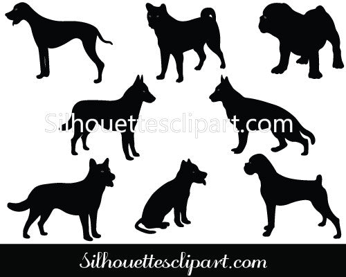 Dog Silhouette Vector Graphics Pack