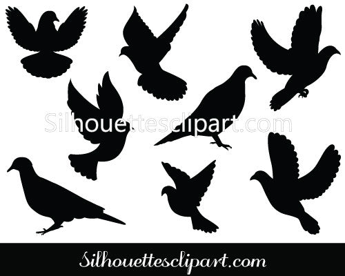 Dove Silhouette Vector Clipart - Awesome Doves