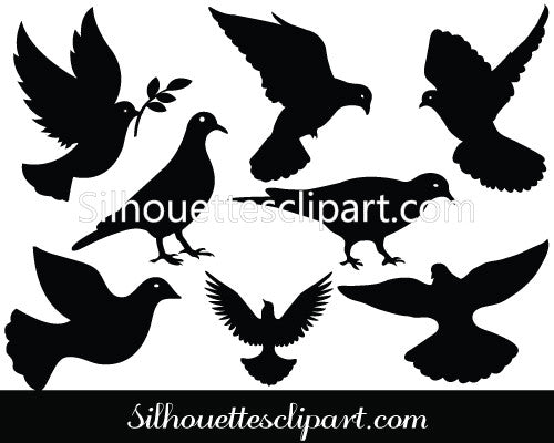 Dove Silhouette Vector Graphics