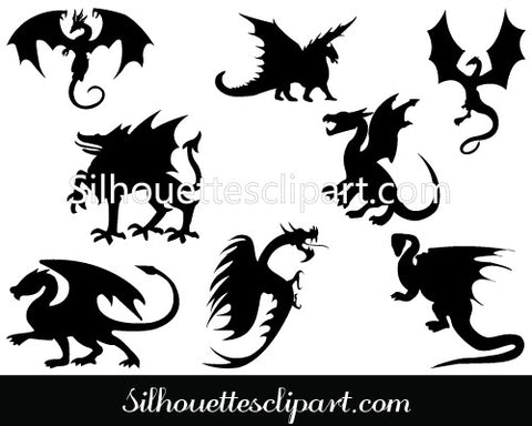 Dragon Silhouette Clip Art Template