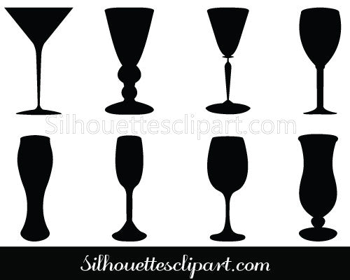 Wine Glass Silhouette Vector Beverage Glasses