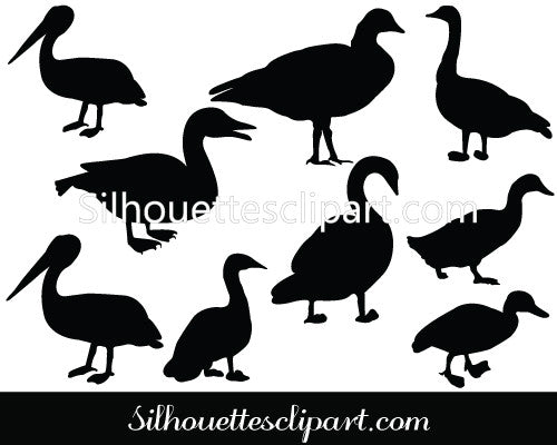 Duck Silhouette Vector Clipart