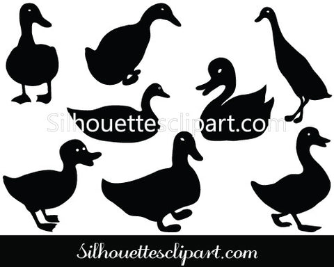 Duck Silhouette Vector Pack