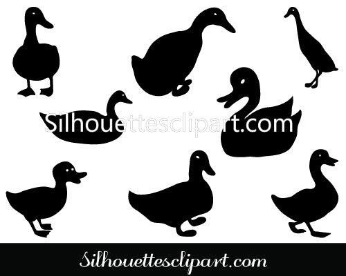 Duck Silhouette Vector Graphics Pack